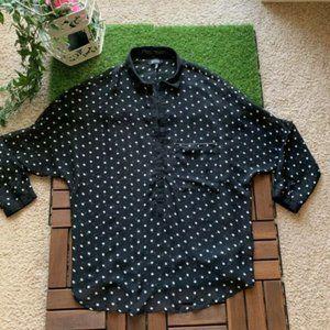 Bershka Blouse Polka Dots Black/White Size S 26